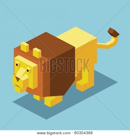 lion on the water. 3d pixelate isometric vector