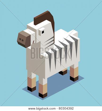 boxy zebra. 3d pixelate isometric vector