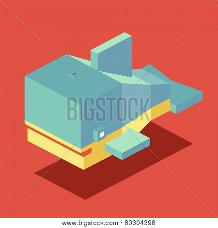 whale. 3d pixelate isometric vector