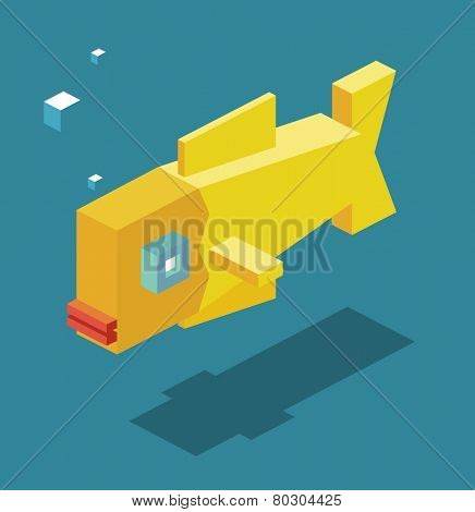 yellow fish. 3d pixelate isometric vector