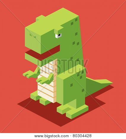 green t-rex. 3d pixelate isometric vector