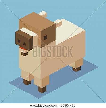 goat. 3d pixelate isometric vector