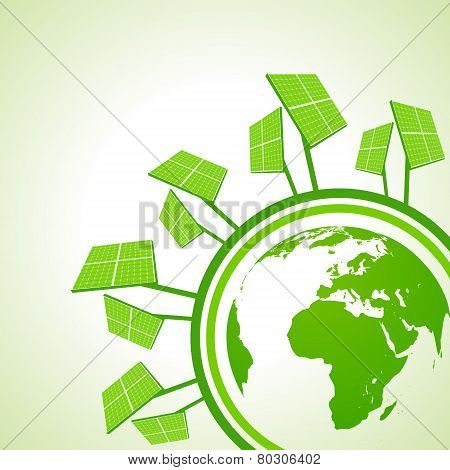 Ecology Concept - Solar panel with earth