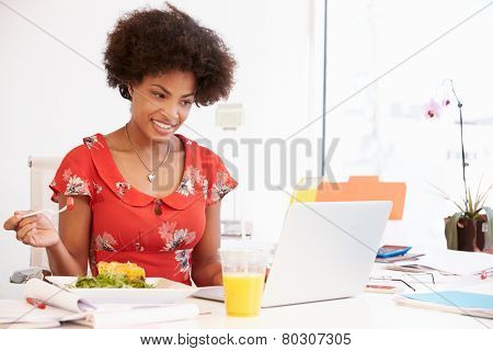 Girl Pretending To Be Businesswoman Working At Desk