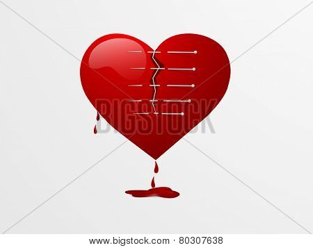 Red broken heart with pins on grey background for Valentines Day.
