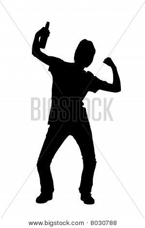 A silhouette of a happy female sport fan with a beer