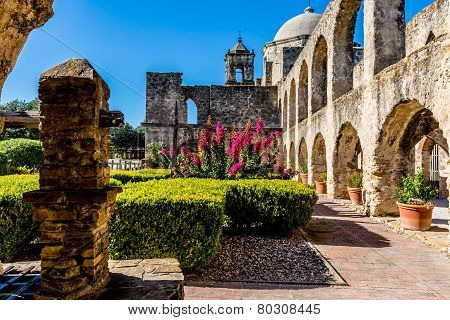 The Historic Old West Spanish Mission San Jose, Founded In 1720, San Antonio, Texas. Court Yard.