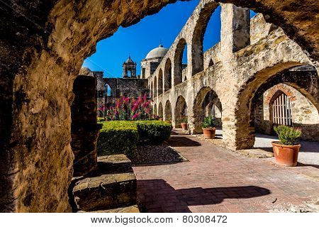 The Historic Old West Spanish Mission San Jose, Founded In 1720, San Antonio, Texas. Courtyard Arch