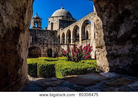Interesting View of the Historic Old West Spanish Mission San Jose, 1720, San Antonio, TX