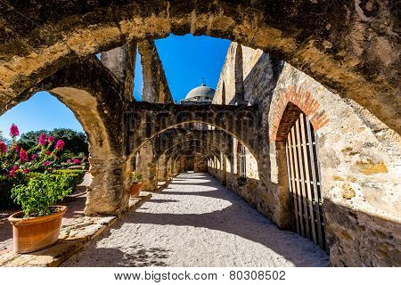 Stone Arches of the Historic Old West Spanish Mission San Jose, 1720, San Antonio, TX