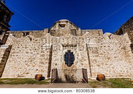 Rose Window of the Historic Old West Spanish Mission San Jose, 1720, San Antonio, Texas, Usa.