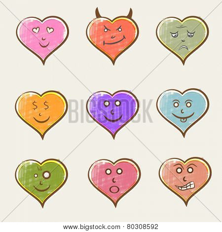 Colorful set of different facial expressions in heart shape on beige background.
