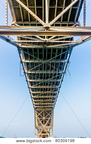 Intricate Geometric Patterns of Steel and Iron Works of a Coastal Bridge in Corpus Christi, Texas.