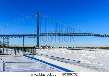 Wintery View of Ambassador Bridge