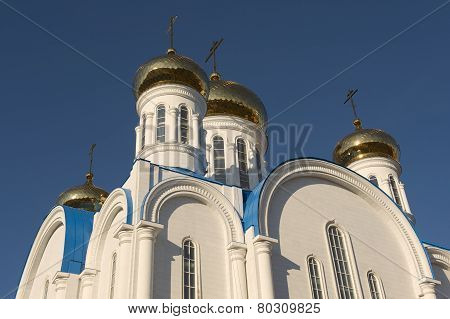 Domes of the cathedral of Astana city, Astana, Kazakhstan.