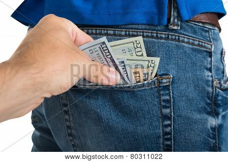 Thief Taking Money Out Of Back Pocket