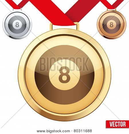 Gold Medal with the symbol of a billiard inside