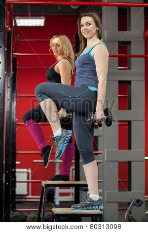 Females Training In Gym With Dumbbells