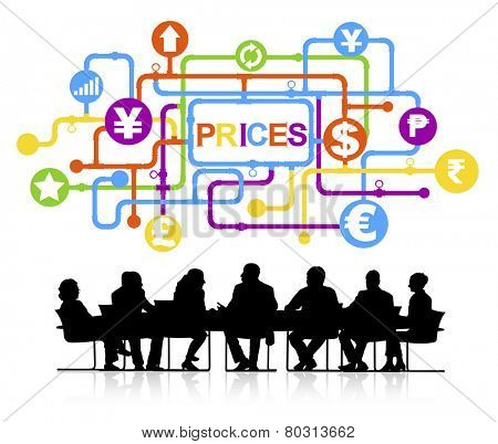 Prices Finance Currency Business Meeting Corporate Concept