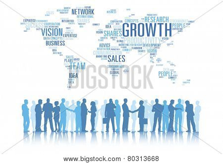 Silhouettes of Business People Working and Global Business Concepts