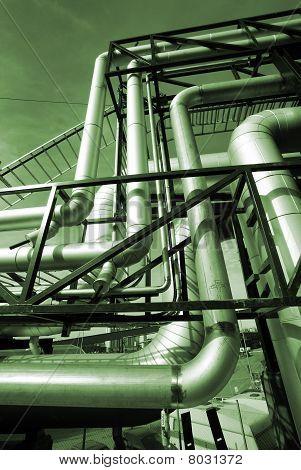 Industrial Zone, Steel Pipelines In Green Tones