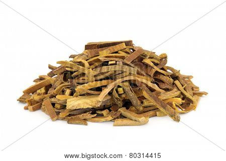 Amur cork tree bark herb used in chinese herbal medicine over white background. Huang Bai.