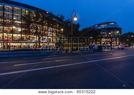 Berlin, Germany - November 12, 2014: The Shopping Street Kurfuerstendamm Over Night Illumination In