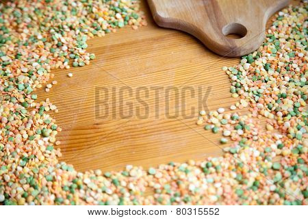 Peas And Lentil Bean Background With Copy Space