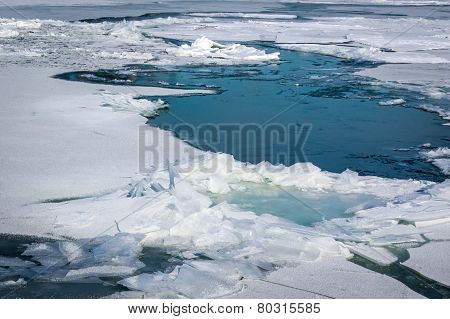 Ice floating on River