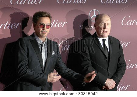 PALM SPRINGS, CA - JAN 3: Robert Downey Jr. ad Robert Duvall arrive  at the 2015 Palm Springs Film Festival Awards Gala at the Palm Springs Convention Center on January 3, 2015 in Palm Springs, CA.