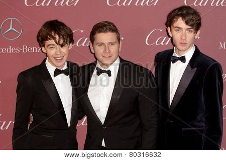 PALM SPRINGS, CA - JAN 3: Matthew Beard, Alex Lawther and Allen Leech arrive at the 2015 Palm Springs Film Festival Awards Gala, Palm Springs Convention Center on January 3, 2015 in Palm Springs, CA.