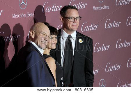 PALM SPRINGS, CA - JAN 3: Patrick Stewart, Carla Gugino & Matthew Lillard arrive at the 2015 Palm Springs Film Festival Gala, Palm Springs Convention Center on January 3, 2015 in Palm Springs, CA.