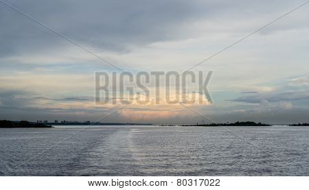 The Manaus city and Iranduba Bridge at sunset, skyline