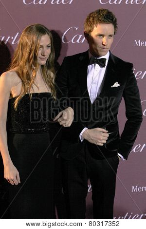 PALM SPRINGS, CA - JAN 3: Eddie Redmayne and Hannah Bagshawe arrive at the 2015 Palm Springs Film Festival Awards Gala at the Palm Springs Convention Center on January 3, 2015 in Palm Springs, CA.