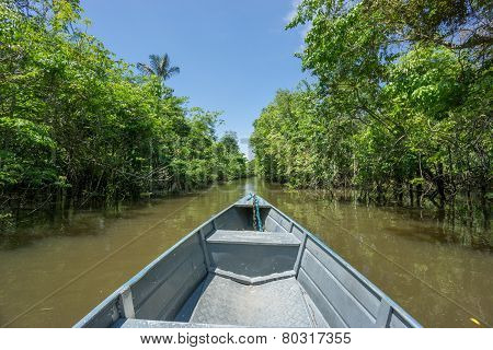 Boat over canal in Rio Negro, amazon river, Brazil