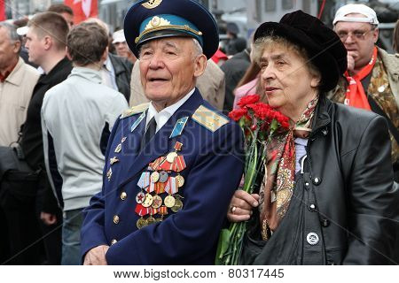 The Unknown Veteran On The Victory Day In Moscow During March Of Communists