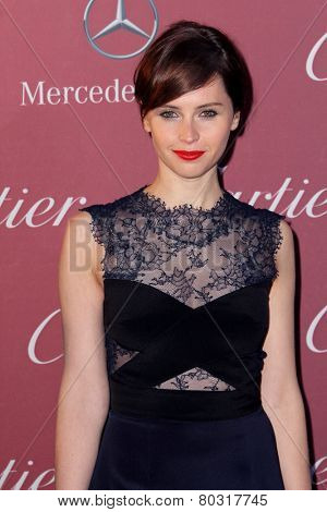 PALM SPRINGS, CA - JAN 3: Felicity Jones arrives at the 2015 Palm Springs International Film Festival Awards Gala at the Palm Springs Convention Center on January 3, 2015 in Palm Springs, CA.