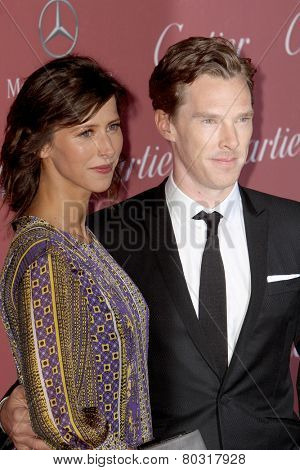 PALM SPRINGS, CA - JAN 3: Sophie Hunter and Benedict Cumberbatch arrive at the 2015 Palm Springs Film Festival Awards Gala at the Palm Springs Convention Center on January 3, 2015 in Palm Springs, CA.