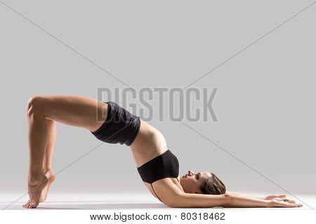 Yogi Gymnast Girl Doing Exercise For Spine