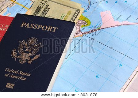 Passport With Background Of Map