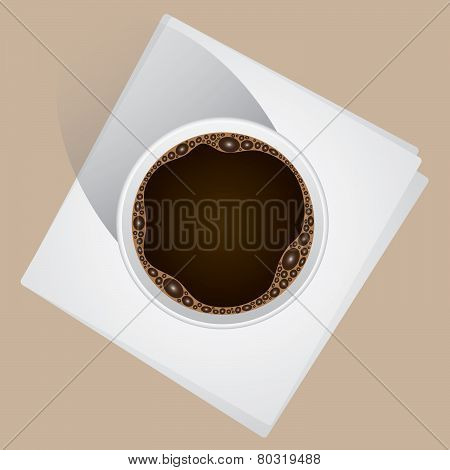 Top-down Coffee Cup on Napkins