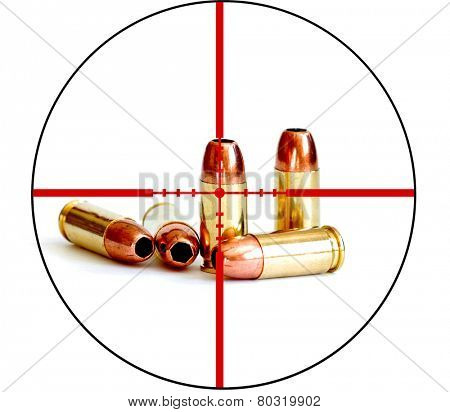 Closeup of tactical military bullets and magazine for gun with crosshairs to symbolize war on right to bear arms