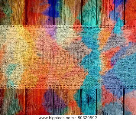 Colorful Canvas Textured with Paint Brush Stroke Wood Background