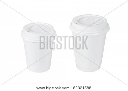 Blank coffee cups isolated on white