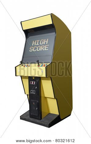High Score message on a retro arcade isolated on white