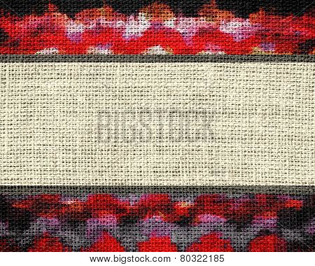 Banner Burlap Fabric Textured with Paint Brush Stroke Background
