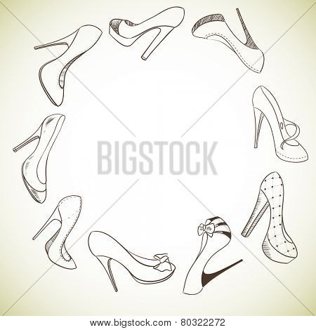 Background with a circle of shoes. Vector illustration
