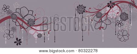 Panorama with branches and flowers. Vector illustration