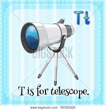 A letter T which stands for telescope
