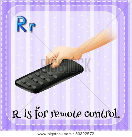 A letter R which stands for remote control
